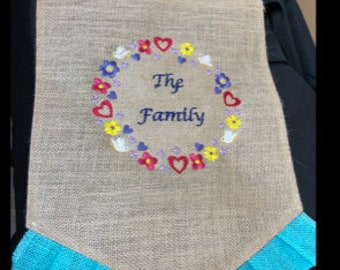 Personalized Garden Flags, Family, burlap garden flags
