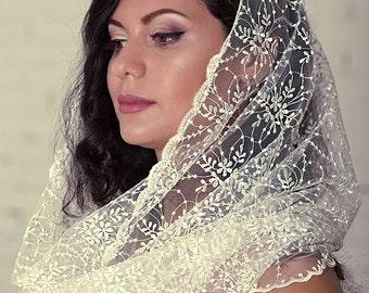Catholic Chapel,infinity mantilla,head covering,catholic accessories,ivory lace mantilla,chapel mantilla veil,church veil,Religious Head