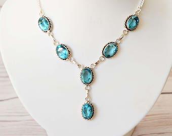 Blue Quartz Gemstone Statement Necklace, Quartz Pendant, Statement Necklace,  Gift for Her