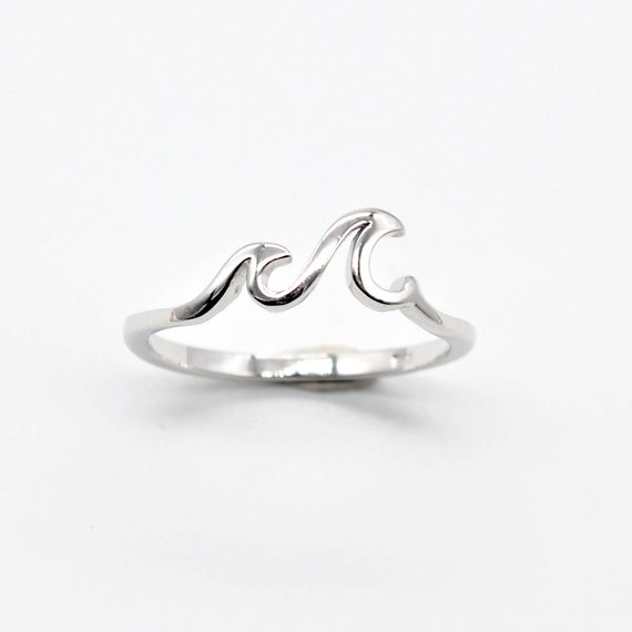 Sterling Silver Ring Band Double Wave Ring Handmade Ring Gift For Her Silver Jewelry Wave Band