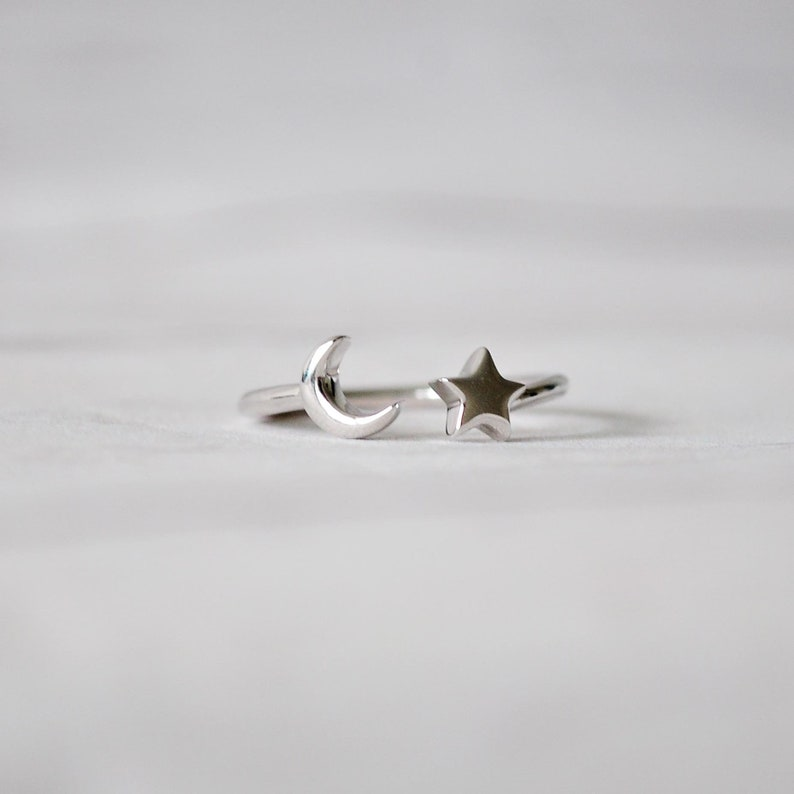 Silver band Adjustable silver ring Moon and Star 925 Sterling Silver Ring size 6,7,8 Cute Silver Ring Moon and Star Ring