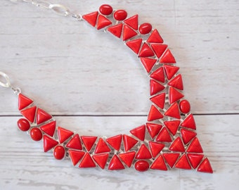 Red Coral Statement Necklace | Multi Gemstone BIB Necklace |  Bib Statement Necklace | Bold Necklace