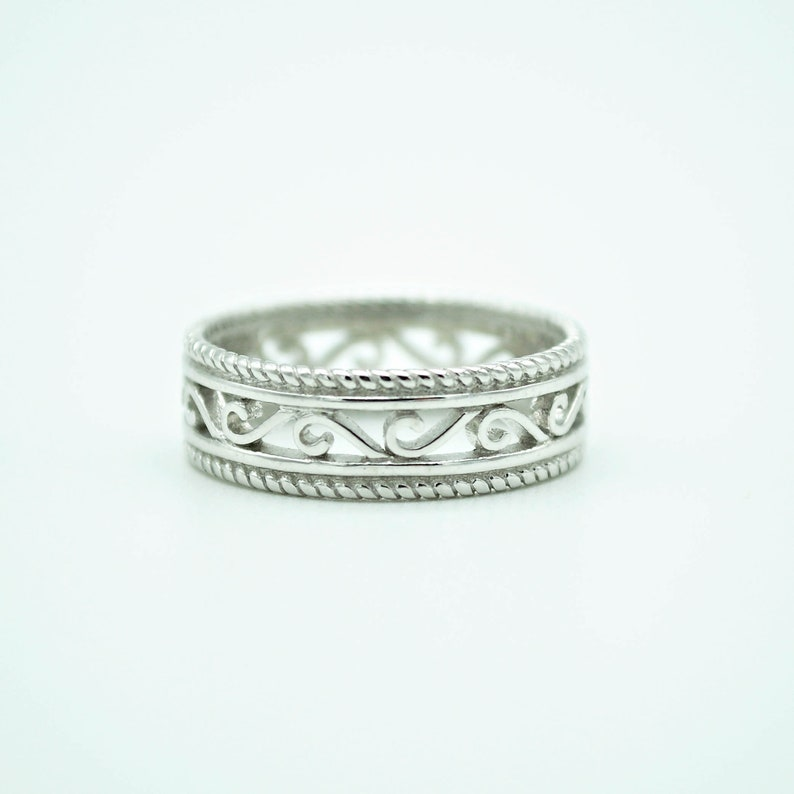 925 Sterling Silver unique Band Ring Silver Band Swirl Ring Women/'s Silver Ring Boho Ring,