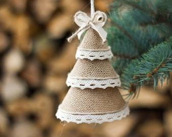 Christmas Tree Ornaments, Burlap Pine Tree Christmas Decorations, Holiday Home Decor, Christmas Gift