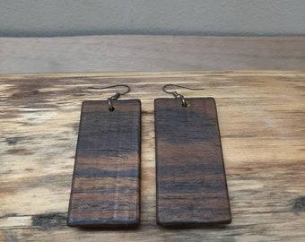 Geometric Bocote Fishhook Earrings