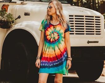 Rainbow dress women, Tie dye dress, Beach cover up, Cotton t shirt dress, Hippie clothes women, Tye dye dress, 40th birthday gifts for women