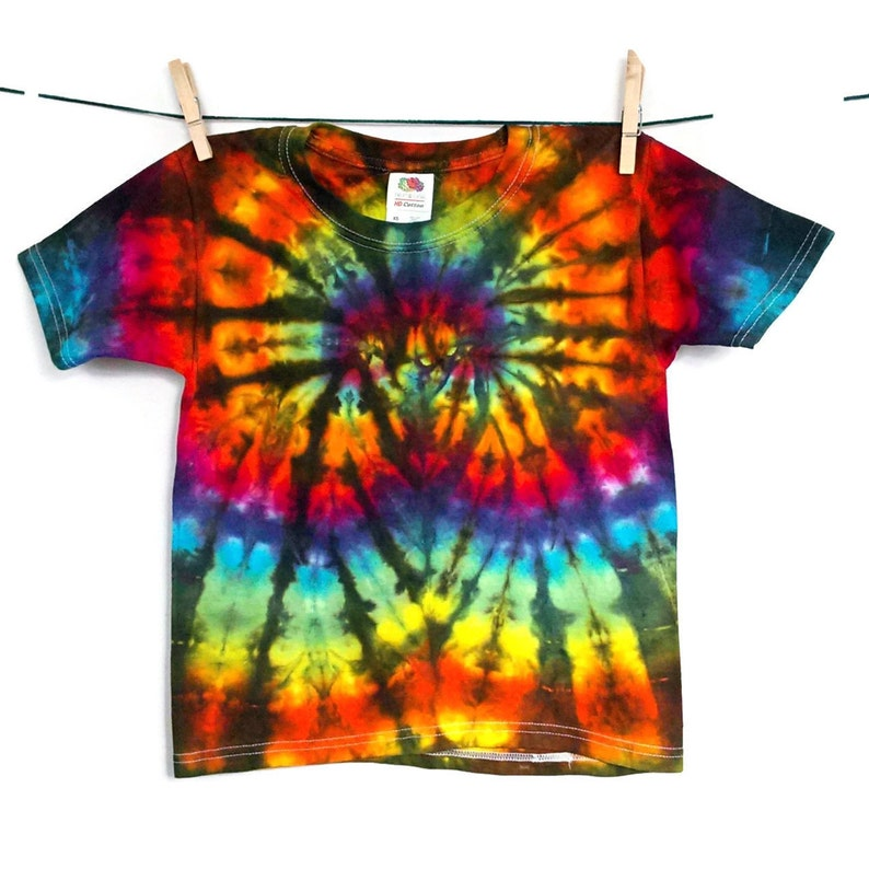 b5c4698bee5 Kids hippie clothes Rainbow tie dye shirt 90s clothing