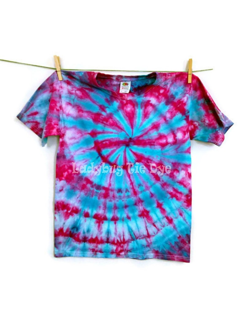 0c81281b472 Pink and blue spiral tie dye shirt for kids Youth tye dye