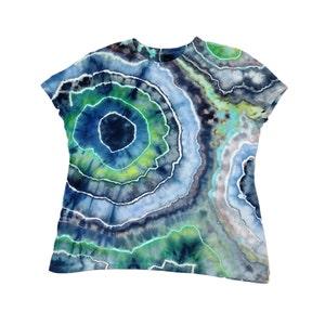 Nature inspired ice dye geode Plus Size Sleeveless tie dye tunic Boho tunic tank top 50th birthday gift for women M L XL 2XL 3XL