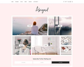 "Responsive Blogger Template - Blog Theme - Customizable Blogger Design - Feminine - ""Abigail"" - premade blog theme - slider - drop down"