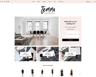 "Blogger Template - Responsive Blog Design - Customizable Blogger Theme - Clean, Minimal - ""Jemma"" - premade blog theme - slider - drop down"