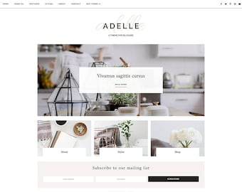 "Responsive Blogger Template - Blog Design - Customizable Blogger Theme - Clean, Minimal - ""Adelle"" - premade blog theme - slider - drop down"