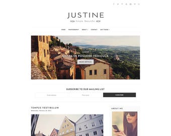 "Blog Template Blogger - Responsive - Simple - -Clean Minimal - Customizable -  ""Justine"" - Slider - Blogger Template Instant Download"