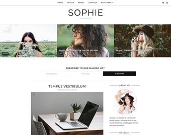 "Simple Blogger Template - Premade Blogger Template, Responsive, Simple, Minimal, Customizable -  ""Sophie"" -  Blogger Theme Instan"