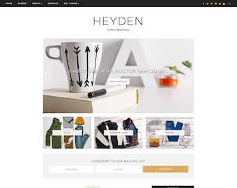 "Premade Blogger Template - Responsive Blog Design - Customizable - Black and White - ""Heyden"" - Slider, Drop down, Instant Digital Download"