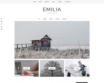 "Blogger Theme Responsive - Customizable Blogger Template - Blog Design - Minimal, Clean - ""Emilia"" - premade blog theme - slider - drop down"