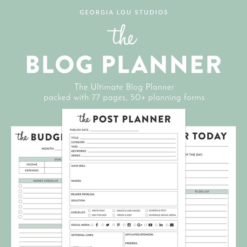 graphic relating to Blog Planner Printable named Printable Site Planner, Printable Planner, Site Organizer, Running a blog Planner, pdf, Letter sized, 77 web pages, blogger planner printable