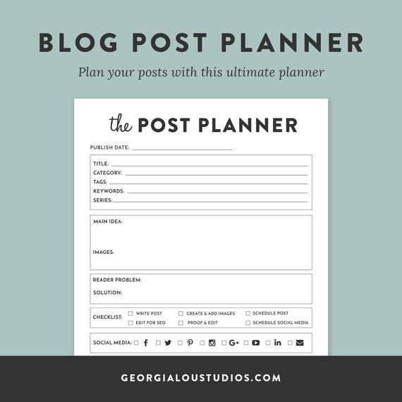 Blog Post Planner, Printable planner, Blog Organizer, Blogging Planner,  pdf, Letter sized, blogger post planner printable