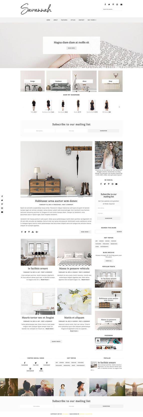Responsive Blogger Template Blogger Theme Customizable Etsy