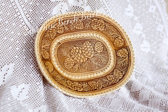 Birch Bark Serving tray Gift for wife Carved plate Wooden Decorative plate for sweets Rustic decor Tray for fruit Russian souvenir