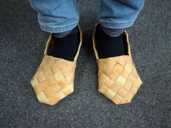 Bast Schuhe, Birke Rinde Schuhe, russische Schuhe, Hausschuhe, rustikalen Stil, Wicker Schuh, Eco freundlich gemütlich Schuhe, Fußmassage, Лапти