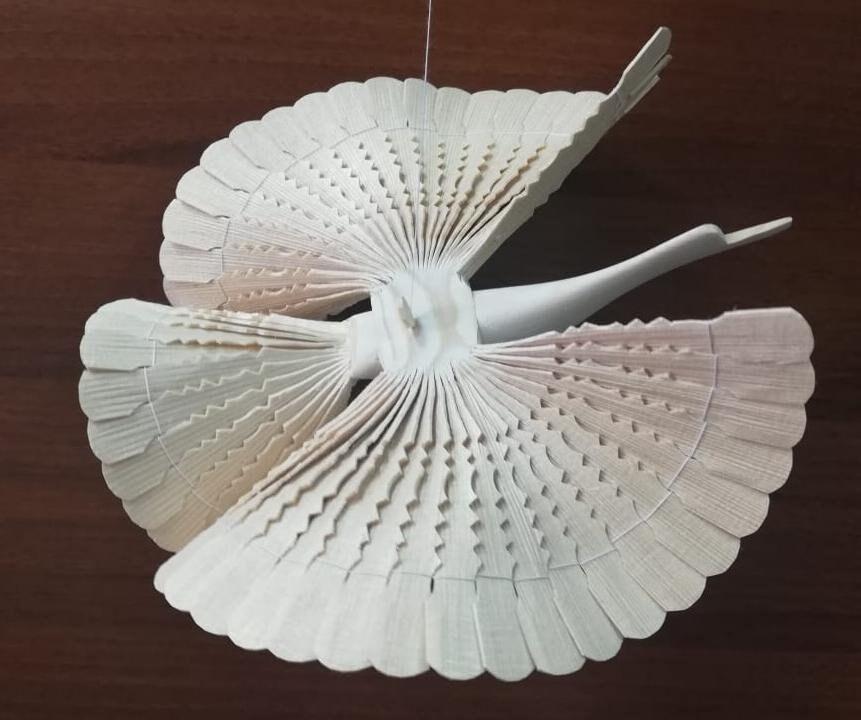 Großer Holzvogel des Glücks 25 cm, Holzamulet, Vintage Vogelspielzeug
