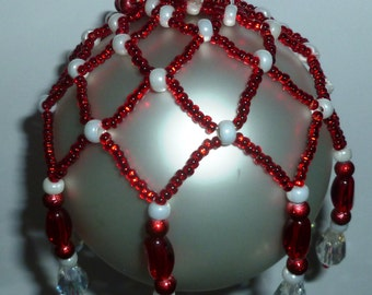 Red and White hand beaded Ornament