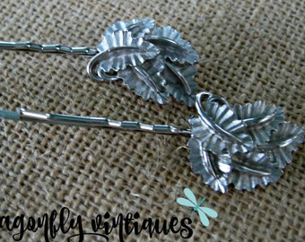 Vintage Hair Pins, Silver Tone, Leaves Leaf, Vintage Earrings, Upcycled  Recycled, Repurposed Jewelry, Gift for Her Teens, Eco Friendly {28}