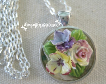 repurposed vintage collage pendant repurposed jewelry pieces vintage porcelain flower cluster artisan upcycled recycled reclaimed /N124