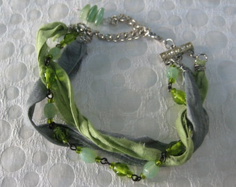 sari silk bracelet, hand crafted, vintage rosary, gray light green celery, repurposed recycled, reclaimed upcycled, ecofriendly, OOAK/13