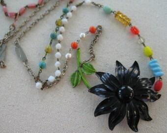vintage assemblage statement necklace vintage brooch chains repurposed jewelry upcycled reclaimed vintage recycled black enamel flower /N18