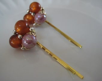 Faux Pearl Hair Pins, Repurposed Jewelry, Upcycled, Recycled, Eco Friendly, Earth tones