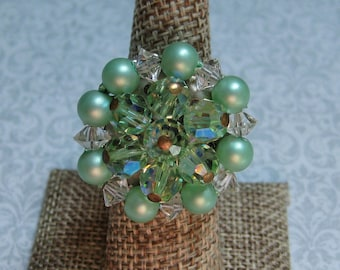 Upcycled Ring, Vintage Ring, Statement Ring, Upcycled Recycled, Repurposed Jewelry, Vintage Earring, Green Pearl Rhinestones  /R27