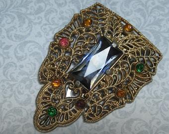 Filigree Dress Clip, Art Deco, Art Nouveau, Filigree Metal, Brooch, Pendant, Gold Tone Metal, Stones Purple, Pink Yellow Green