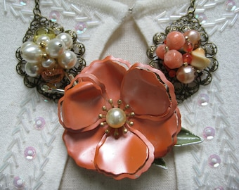 vintage upcycled necklace, assemblage, statement necklace, enamel brooch, peach cream, repurposed jewelry, reclaimed, recycled  ooak/ N180