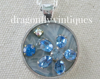 repurposed vintage jewelry, collage pendant, repurposed jewelry, vintage pieces, artisan necklace, upcycle recycle,repurposed reclaimed/N139