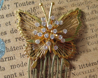 Vintage Hair Comb, Bride, Wedding, Butterfly, Rhinestones,Vintage Wedding,Repurposed Jewelry,Upcycled, Recycled, Eco Friendly, Gift for Her