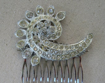 Vintage Hair Comb, Bridal, Crystals, Clear Rhinestones, Wedding, Gift for Her, Repurposed Jewelry, Recycled, Upcycled, Eco Friendly/hc35
