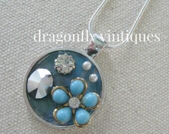 repurposed vintage collage pendant repurposed jewelry pieces vintage rhinestones pearls artisan upcycled recycled reclaimed ooak /N127