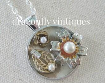 repurposed vintage jewelry, collage pendant, repurposed jewelry, vintage pieces, artisan necklace, upcycle recycle,repurposed reclaimed/N141