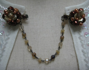 Recycled OOAK Hand Crafted Collar Clip Special Occasion Scarf Clip Shawl Clip Upcycled Vintage Sweater Clip Bronze Brown