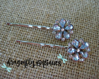 Hair Pins, Rhinestones, Silver Tone, Wedding, Bridesmaids,  Gift for Her  {109}