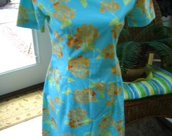 Vintage Short Sleeve Dress, Sun Dress, Handmade Summer Spring Dress, Turquoise Peach, Reclaimed Vintage, Eco Friendly, Retro Mod