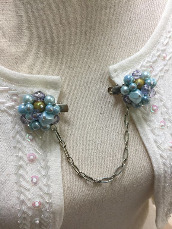 Vintage Sweater Clip Recycled Jewelry Scarf Clip Blue Bronze Hand Crafted Shawl Clip One of a Kind Special OccasionJewelry Upcycled