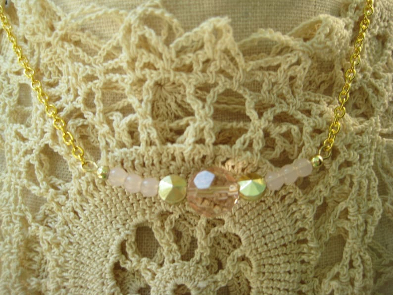 lucite beads reclaimed repurposed N171 boho bohemian pink gold beads upcycle recycle vintage choker gold tone festival necklace