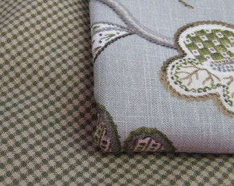 Robert Allen Green/Grey and Taupe Mini Plaid Fabric