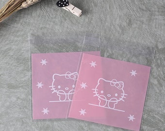 251140979ddd pink and golden hello kitty plastic packaing bags wedding gift bag candy  biscuit bags