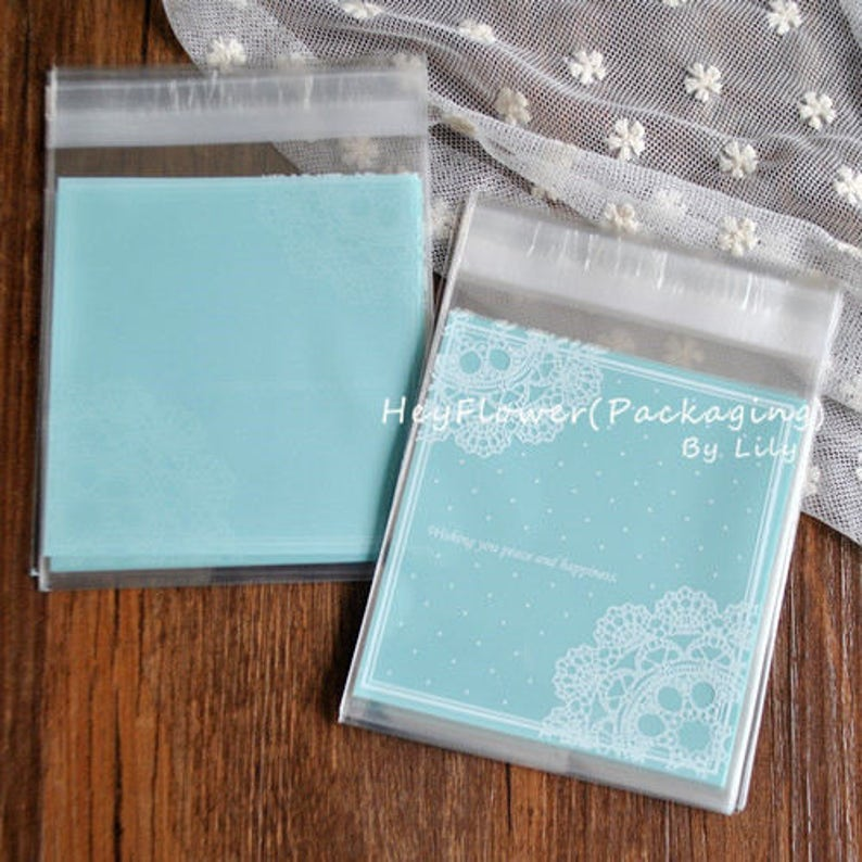 biscuit packaging party wedding favor bag,celophane gift bag self adhesive bag 100pcs blue lace cookie wrapping