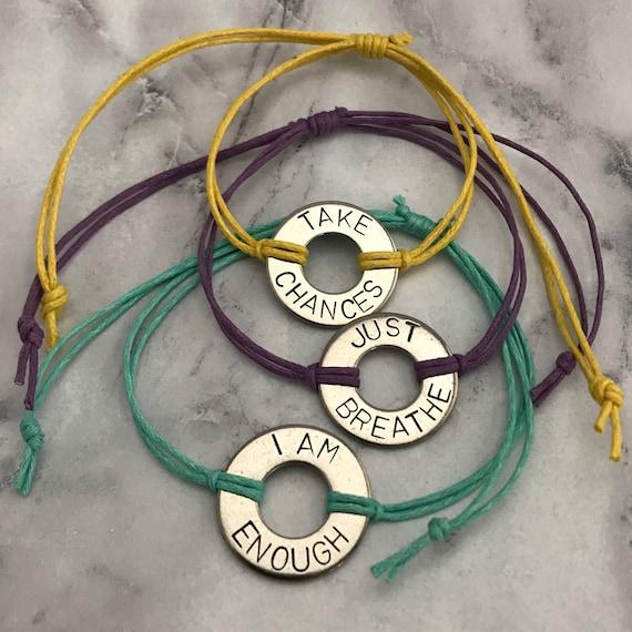intention custom stamped leather bracelet aluminium washer bracelet My word washer bracelet with leather band personalized adjustable bracelet
