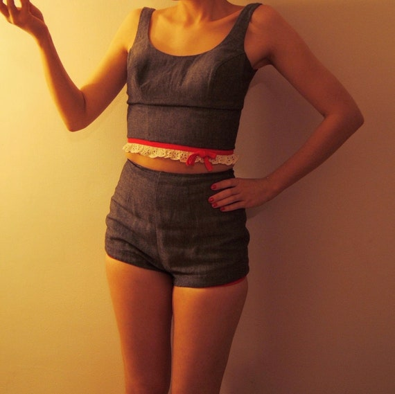 1960s two piece Chambray bathing/ play suit   Beac